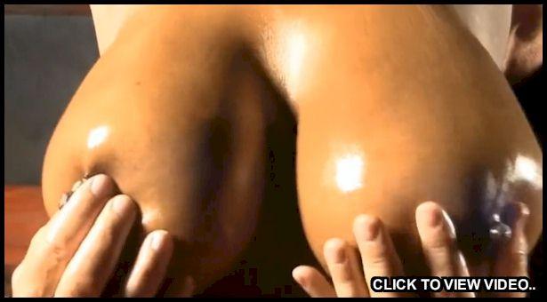 Rubbing big black boobs