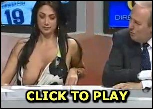 Busty Italian TV host nip slip