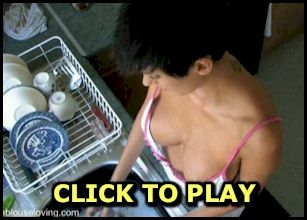 Busty babe doing the dishes video