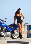 Carmen Ortega on a Motorcycle