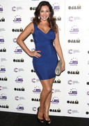 Kelly Brook Cleavage in a Blue Dress