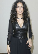 Salma Hayek Cleavage in a Leather Top