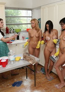 Naked Sorority Pledges in the Kitchen