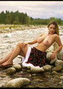 Blonde Dagmara Bajura Topless in a Skirt