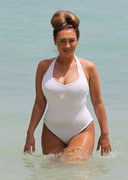 Lauren Goodger Fills a White Swimsuit