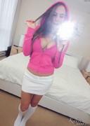 Katie Banks Selfies in a Pink Hoodie