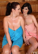 Luna Amor and Joanna Bliss Heat Up a Sauna!
