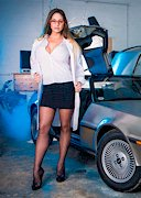Cathy Heaven Strips Next to the DeLorean!