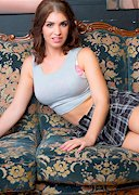 Katie Louise Drops a Skirt on the Couch!