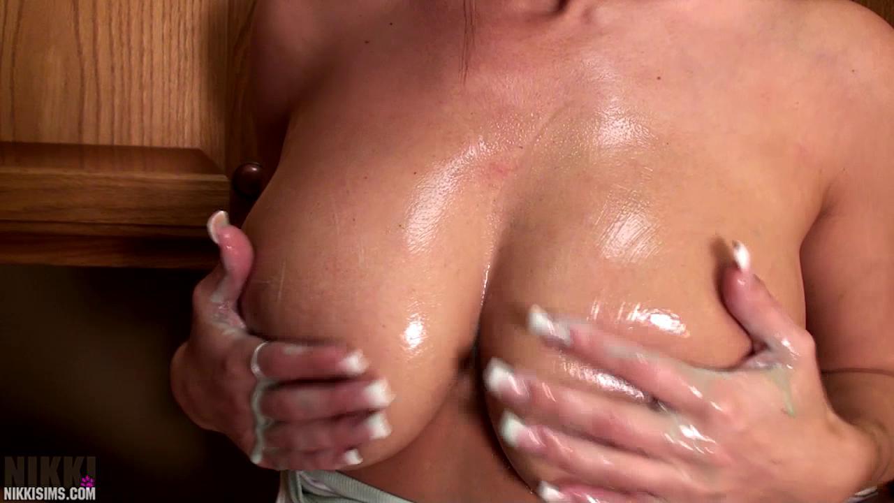 Topless Nikki Sims Rubbing Boobs!